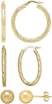 JCPenney FINE JEWELRY Made in Italy 10K Yellow Gold 3-pr. Hoop and Stud Earring Set