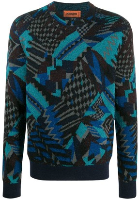 Missoni Abstract-Pattern Crew Neck Jumper