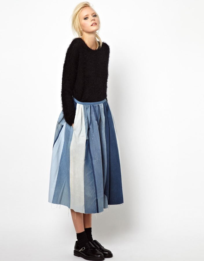 Ashish Full Skirt in Patched Denim