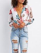 Charlotte Russe Floral Mesh Surplice Bodysuit