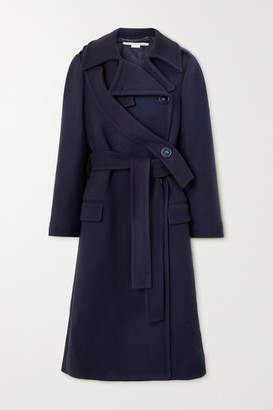 Stella McCartney Belted Double-breasted Wool Coat - Navy