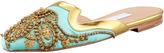 Oscar de la Renta Spanish Sequin-Embellished Mule, Aqua