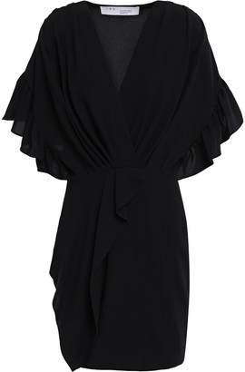 IRO Cedar Wrap-effect Ruffled Crepe Mini Dress