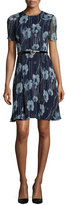 Jason Wu Short-Sleeve Floral-Print Belted Dress, Dusk Multi