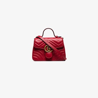 Gucci red GG Marmont leather top handle bag
