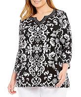 Allison Daley Plus Embellished Notch V-Neck Scroll Print Tunic