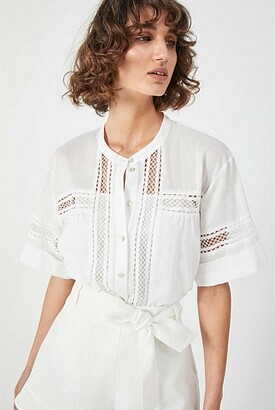 Witchery Lace Trim Short Sleeve Shirt
