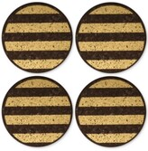Thirstystone 4-Pc. Metallic-Striped Dark Cork Coaster Set