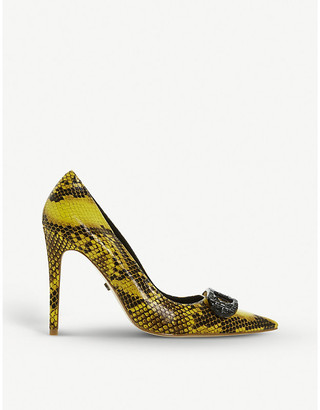 Dune Snake-print embellished faux-leather courts