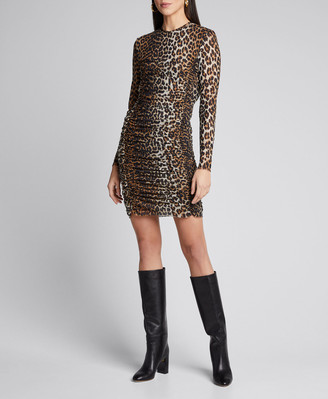 Ganni Leopard-Print Ruched Mesh Long-Sleeve Dress