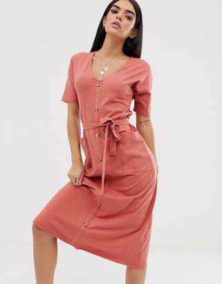 Asos Design DESIGN v neck button through belted midi with pockets-Red