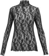 Wolford Katharina Floral-lace Roll-neck Top - Womens - Black