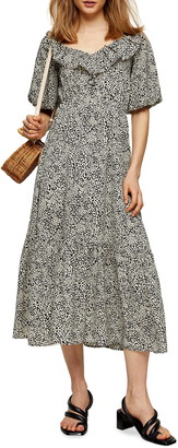 Topshop Animal Frill V-Neck Midi Dress