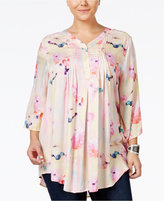 Melissa McCarthy Trendy Plus Size Printed Relaxed-Fit Blouse