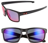 Oakley Men's 'Silver' 57Mm Polarized Sunglasses - Matte Black/ Red Irdium