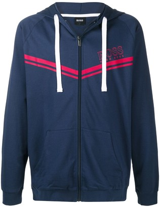 HUGO BOSS Logo-Print Zip-Up Hoodie