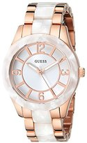 GUESS Women's U0074L2 Stainless Steel Rose Gold-Tone & White Marbellized Watch