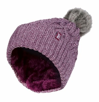 HEAT HOLDERS - Ladies Chunky Ribbed Cuffed Thermal Winter Pom Pom Bobble Beanie Hat with Fleece Lining (One Size
