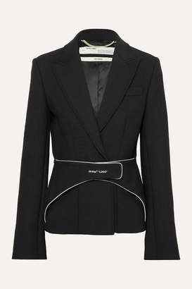 Off-White Off White Belted Woven Blazer - Black