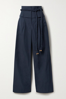 Tory Burch Belted Shell Wide-leg Pants - Navy