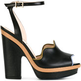 Fendi peep-toe waves sandals - women - Calf Leather/Leather - 38.5