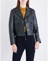 Claudie Pierlot Cropped leather biker jacket
