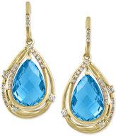 Effy Ocean Bleu By Blue Topaz (9-1/10 ct. t.w.) and Diamond (1/5 ct. t.w.) Drop Earrings in 14k Gold