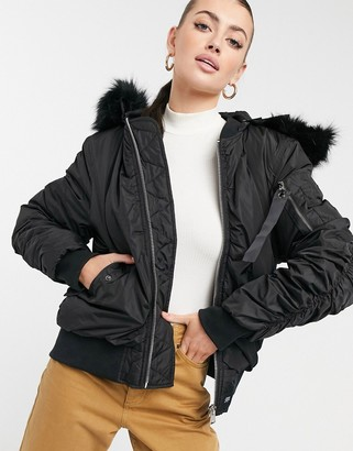 Sixth June padded jacket with faux fur trim hood
