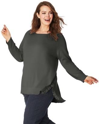 Just My Size Ruffle Split Sweater