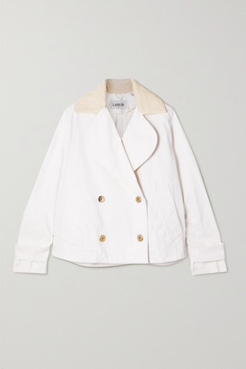 Lanvin Double-breasted Corduroy-trimmed Cotton-canvas Jacket - White