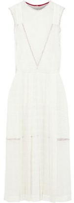 Victoria Beckham Pleated Paneled Woven Midi Dress
