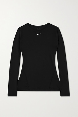 Nike Pro Perforated Stretch-mesh Top - Black