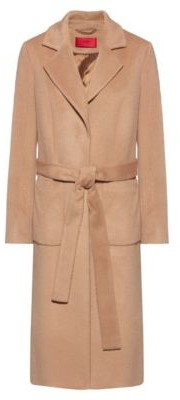 HUGO BOSS Kimono-style belted coat in a relaxed fit