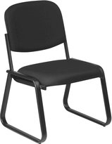 Office Star Work Smart Deluxe Sled Base Arm Chair With Designer Plastic Shell Back, Midnight Black