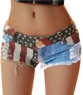 Fashion Story Hot Pants Mini Jeans Shorts Women American US Flag Denim (XL)