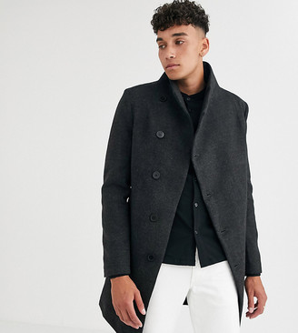 Religion tall funnel neck asymmetric overcoat in grey marl dogtooth