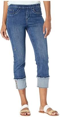 FDJ French Dressing Jeans Statement Denim Pull-On X-Stitch Detail Crop in Blue Denim (Blue Denim) Women's Jeans