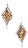 Mallary Marks Moroccan Lattice 18K Yellow Gold, Iolite, Tourmaline, Aquamarine & Zircon Drop Earrings