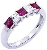 Diamonique & Simulated Ruby Ring, Platinum Clad