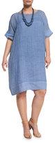 Marina Rinaldi Distico Short-Sleeve Ramie Shift Dress, Plus Size
