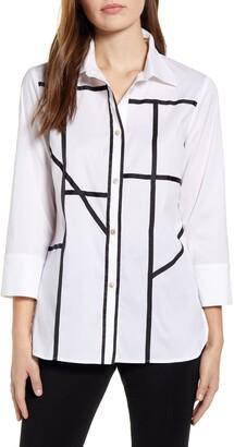 Ming Wang Grosgrain Grid Cotton Blend Button Up Shirt