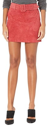 Blank NYC Real Suede Miniskirt with Belt (Fired Up) Women's Skirt