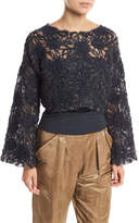 Brunello Cucinelli Artisan Round-Neck Bell-Sleeve Blouse with Tube Top