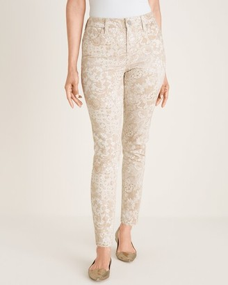So Slimming Lace-Print Girlfriend Ankle Jeans