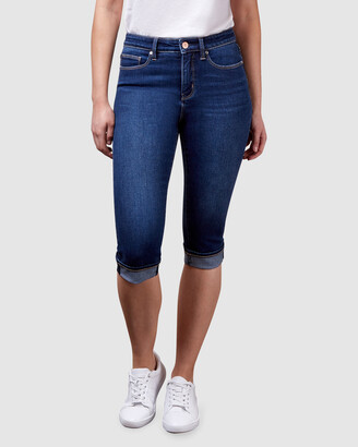 Jeanswest Women's Blue Skinny - Mid Waist Pedal Pusher Dark Vintage - Size One Size, 8 at The Iconic