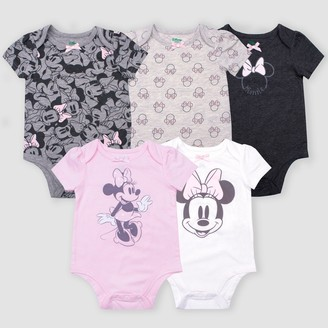 Disney Baby Girls' 5pk Minnie Mouse Short Sleeve Bodysuits -