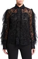 ANAÏS JOURDEN Velvet Lace Shirt with Ruffles