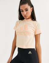 adidas Training cropped glam t-shirt in beige