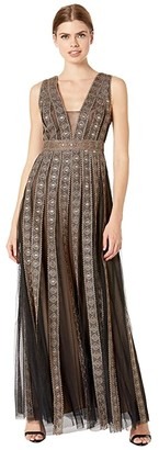 BCBGMAXAZRIA Embroidered Metallic Gown (Black Combo) Women's Dress