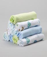 SpaSilk Blue & Green Dinosaur Washcloth Set